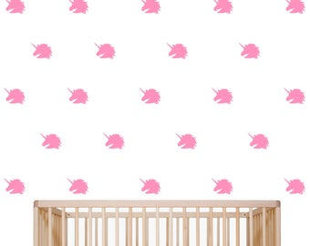 Unicorn Wall Decal, Nursery Wall Decor, Kids Room Wall Decor, Accent Wall, Set of 24 Self Adhesive Vinyl Wall Decals, Available in 15 Colors