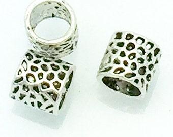 """Silver """"Basket"""" Beads, large hole, alloy 8 pcs"""