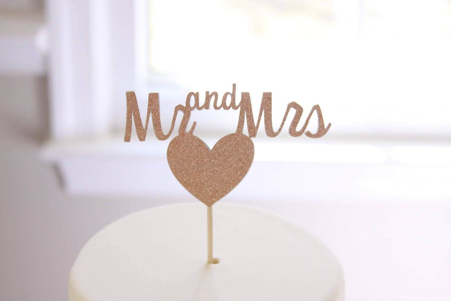 mr and mrs topper wedding cake topper rose gold glitter cake topper wedding cake ideas sparkly sweetheart table decor silver and gold