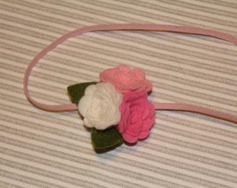 Felt flower headband, Pink flower headband, wool felt blend headband, infant headband, baby headband, toddler headband, girl headband