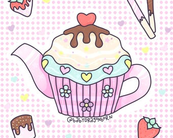 Teapot and Sweets Print
