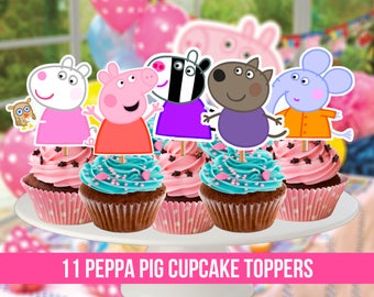 11 Peppa Pig Cupcake Toppers, Printable, Peppa Pig Party, 11 Cupcake Toppers, Children Party, Instant Download