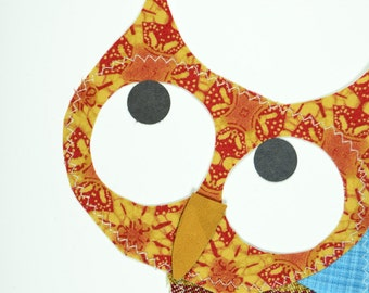 Owl in Jeans Handmade Fabric Card
