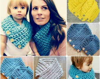 SALE Mum and daughter or dad and son matching Boston harbour scarf with buttons