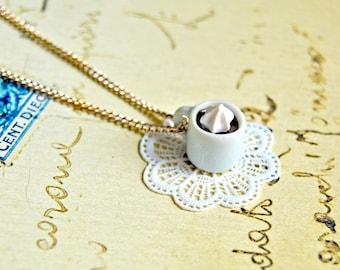 Handmade miniature coffee and cream mug necklace - miniature food jewelry, coffee necklace, coffee jewelry
