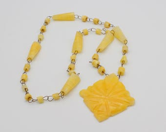 Yellow Onyx Aztec Warrior Necklace