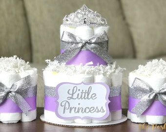 Tiara Diaper Cake, Girl Little Princess Purple Lavender Silver Tiara Crown, Baby Shower Decoration Centerpiece, Baby Shower Gift, Set of 3
