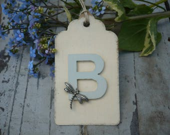 Dragonfly gift tag,personalised with initial,gift tag x1