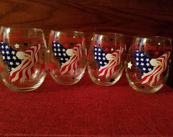 Set of four 4th of July glasses