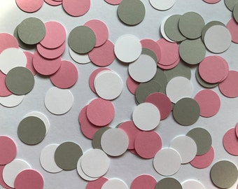Pink, Grey, and White Dot Confetti - Pink Baby Shower Decorations - Pink and Grey Birthday Party Decorations - Pink and Grey Baby Shower