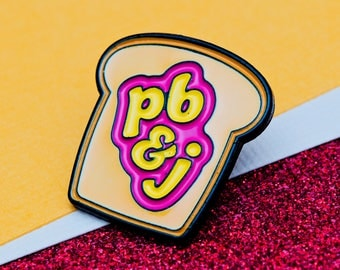 Peanut Butter & Jelly Enamel Pin Badge | Enamel Pin Badge | Soft Enamel Pin | Fun Pin Badge Gift for Peanut Butter and Jelly or Jam Lovers
