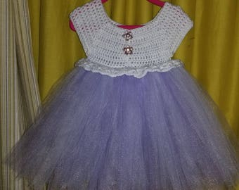 Handmade crochet top tutu dress 1to 3 yr old