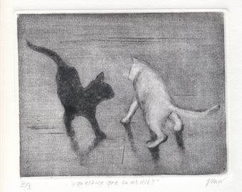 "Original etching ""What did you say?"""