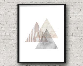 Geometric Triangles Printable Art, Wood Texture, Watercolor, Scandinavian Nordic Print, Minimalist, Large Abstract Poster, Digital Download