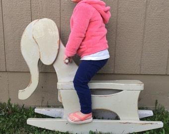 Wooden elephant rocking toy