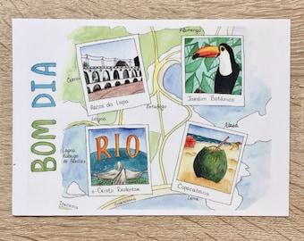 "Postcard ""Bom dia"" Greeting card Brasil Present"