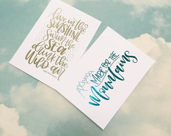 Two mini foiled prints | A6 | made for the mountains | Live in the sunshine | Ralph Waldo Emerson