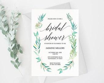 Bridal Shower Invitation Template, Rustic Bridal Shower Wedding Printable, Wedding Shower Template, Shower Invite,PDF Instant Download #E028