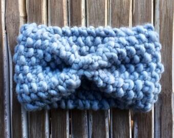 Headband Blue Heather wool - earflap Heather blue wool-headband warmer ski ears-headband - Headband - hand knitted
