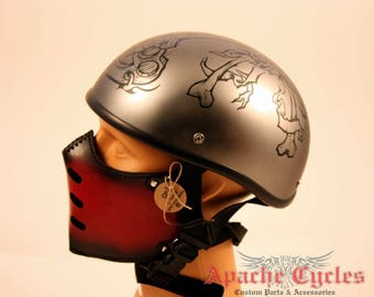 Motorcycle Red leather mask