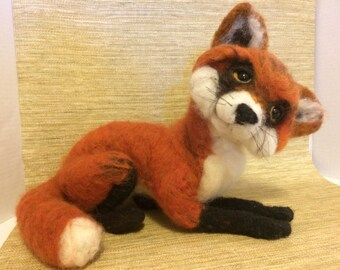 Friendly Fox needle felted wool sculpture