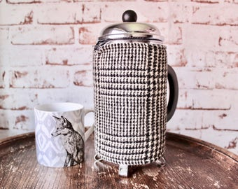 French Press Cosy in Woolen Monochrome. Retro Cafetiere Cosy. Cafetiere Warmer. Plaid Coffee Cosy. Houndstooth Cosy. Checked Coffee Cosy.