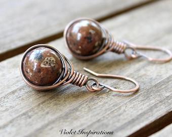 Brecciated Jasper Earrings / Copper Earrings / Wire Wrapped Earrings / Wire Wrapped Jewelry / Copper Jewelry / Earthy Jewelry