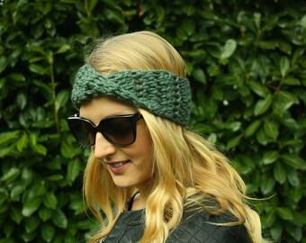 Twisted Infinity Turban, Ear Warmer, Crochet Neck Warmer
