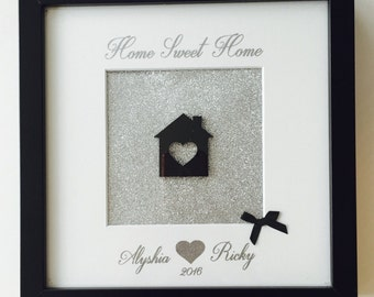 Personalised glitter home sweet home frame