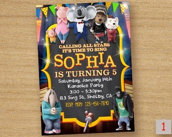 Sing Movie Invitation Birthday, Sing The Movie Printable Invite, Sing Custom Card, Sing Digital Printable Invitation, Chalkboard Invite Sing