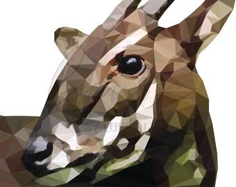 Saola Low Poly Geometric Endangered Species