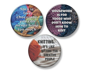 "KNITTING FUNNY SAYINGS Knitter's Fridge Magnet Set - 3 Large 2.25"" Round Magnets (Set #2)"