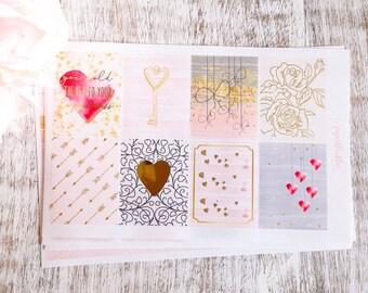 Key Holder Kit Gold Foil Planner Stickers | Love | Valentines | Decorative Stickers
