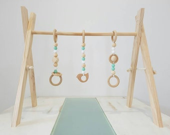 Raw Pastel Activity Gym, Baby Gym, Wooden baby Gym, Wooden play Gym