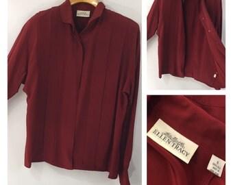 Vintage Silk blouse Linda Allard for Ellen Tracy 100% silk solid deep red Hong Kong 80's 90's classy size 8 shoulder pads