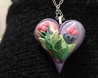 Polymer Clay  Necklace Paisley Heart Pendant Necklace Purple and Pink Heart Pendant Necklace Purple and Pink Necklace