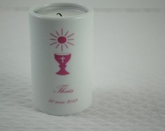 First communion personalized classic round candle