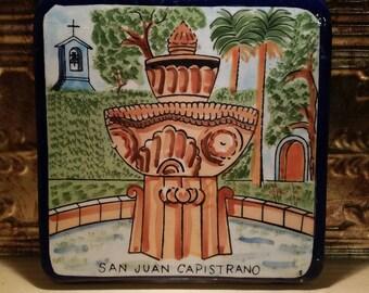 Handpainted hot plate holder with San Juan Capistrano Detail