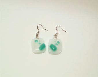 Teal and White Drop Earrings