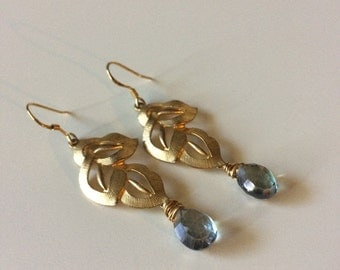 Gold plated tri-leaf dangle earrings with wire wrapped blue-green mystic quartz briolettes.