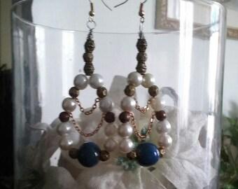 Celtic Nights Blue Ceramic and Pearl Hoop Bead Earrings