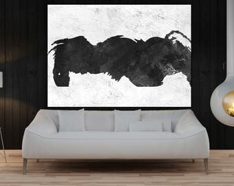 modern wall art original painting canvas  black and white painting , original abstract art, large canvas art acrylic painting