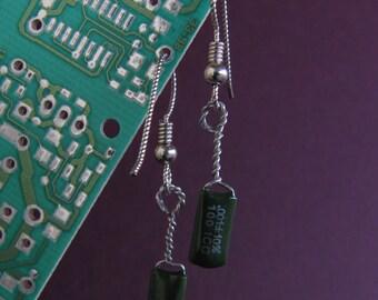 Green Capacitor Twist Earrings
