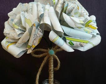 Recycled Cornwall Map 3 x Tea Roses
