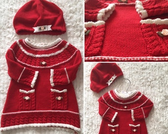 Red knitted Dress with hat