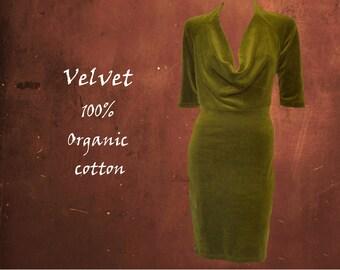 organic velvet dress drape neckline, little black dress organic velvet, party dress GOTS certified organic velvet, sustainable fashion