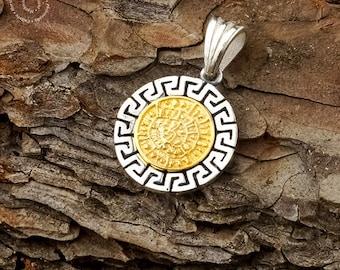 Phaistos Disk/Silver Meander Pendant, Greek Key, Phaistos Disc, Sterling Silver Pendant, Phaistos Scheibe