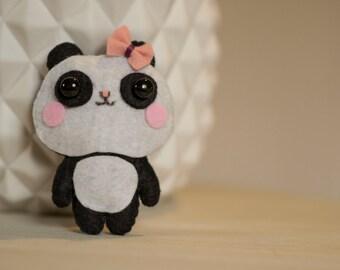Panda mini plush felt pink node