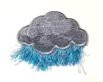 "Raincloud Patch with Fringe - 2-1/2"" x 2"" - Iron-On"