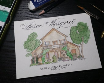 Custom Watercolor or Ink cards